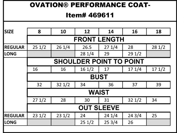 Ovation performance coat with side vent