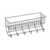 Wire 6-Hook Tack Rack with Basket