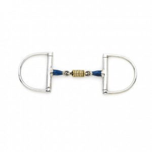 Centaur® Blue Steel King Dee Double Jointed Mouth with Loose Brass Roller Disks