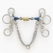 Centaur® Blue Steel Tom Thumb Pelham with Double Jointed Mouth and Loose Brass Roller Disks