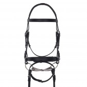 Aramas® Double Raised Padded Dressage Bridle with Leather Reins