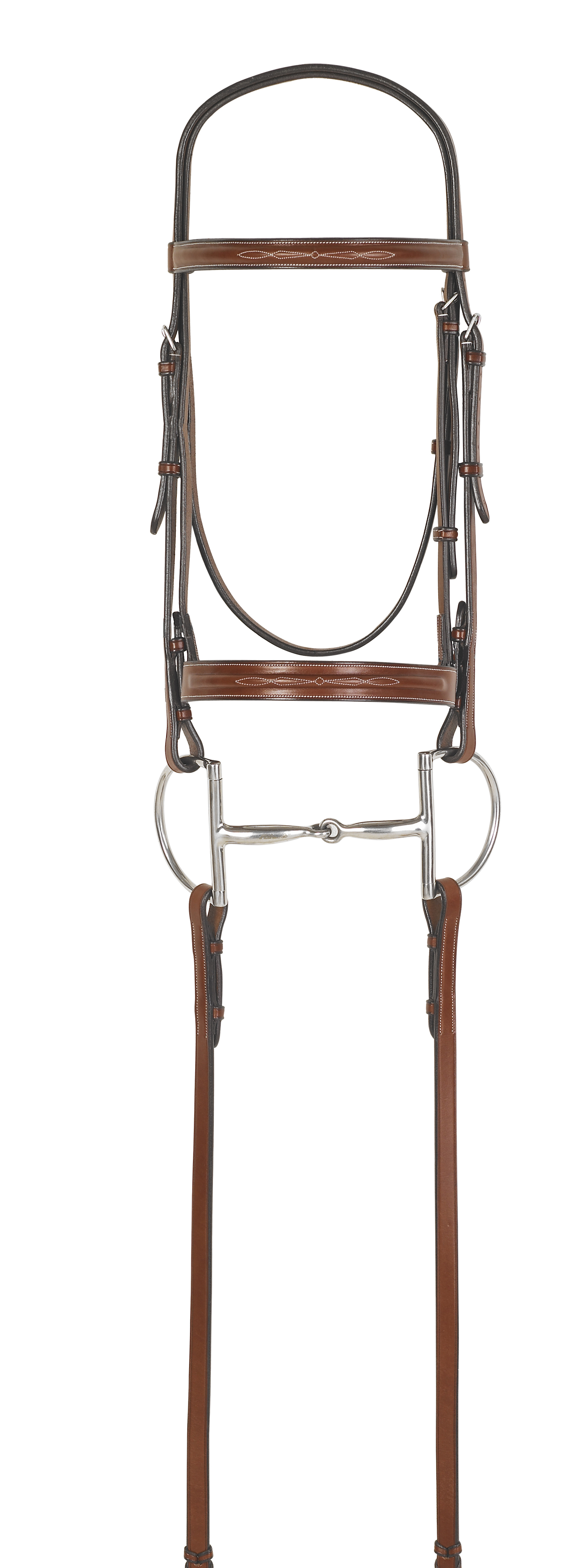 Rodrigo Pessoa® Fancy Stitched Inset Wide Noseband Bridle with Raised Fancy Stitched Laced Reins